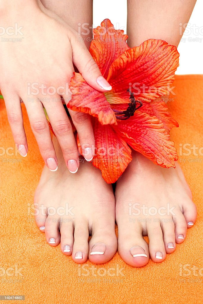 feet with pedicure royalty-free stock photo