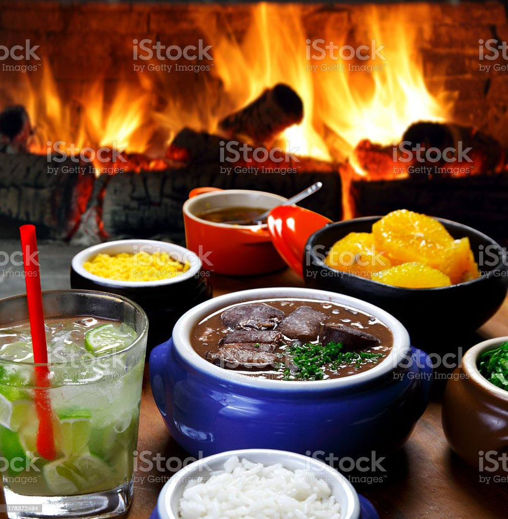 Feijoada, a Portuguese stew of beans with beef and pork royalty-free stock photo