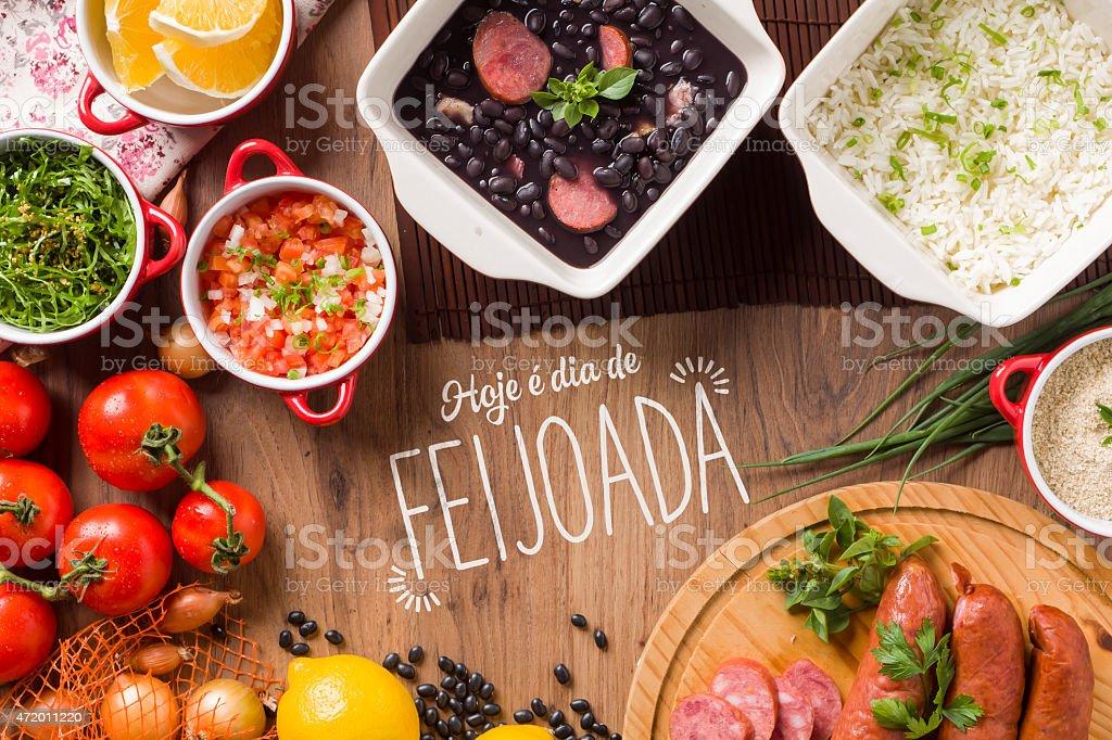 Feijoada surrounded by Hispanic food stock photo