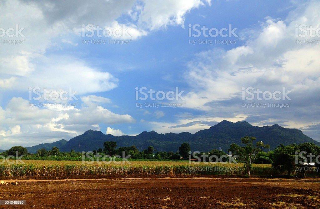 feild mountain sky stock photo