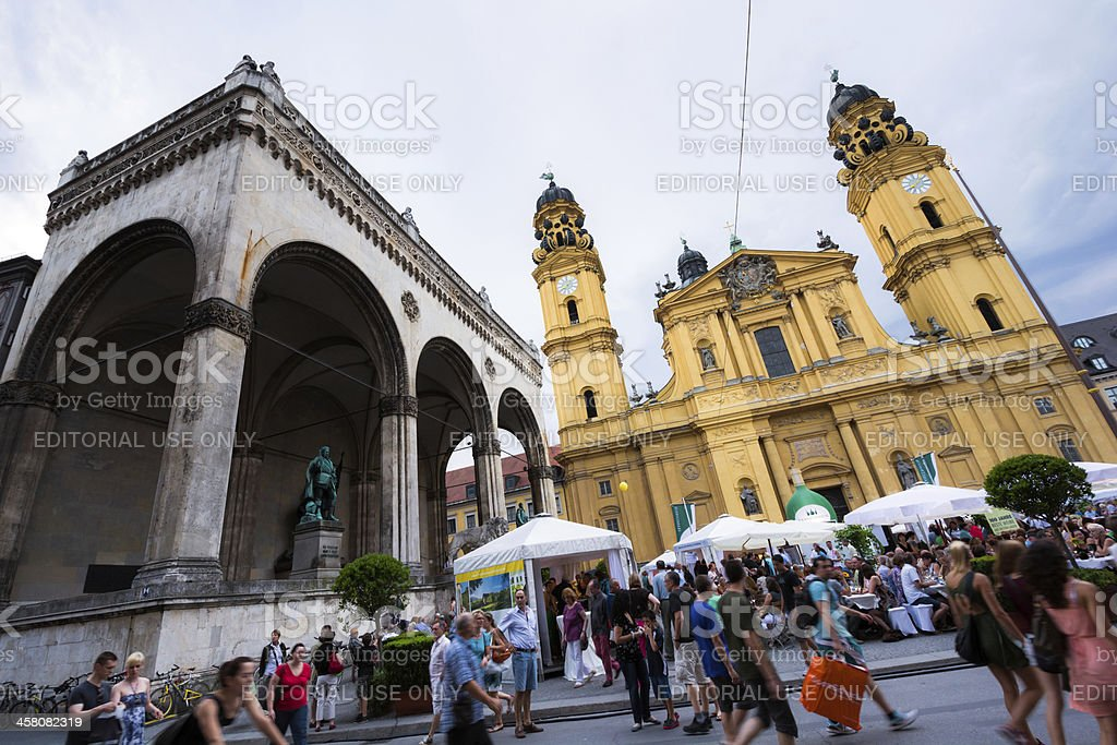 Feldherrnhalle and Theatine Church at Odeonsplatz in Munich, Germany stock photo