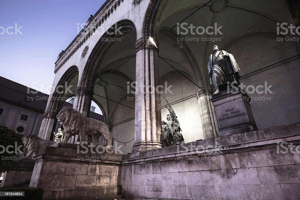 Feldherrnhalle at Odeonsplatz in Munich, Germany royalty-free stock photo
