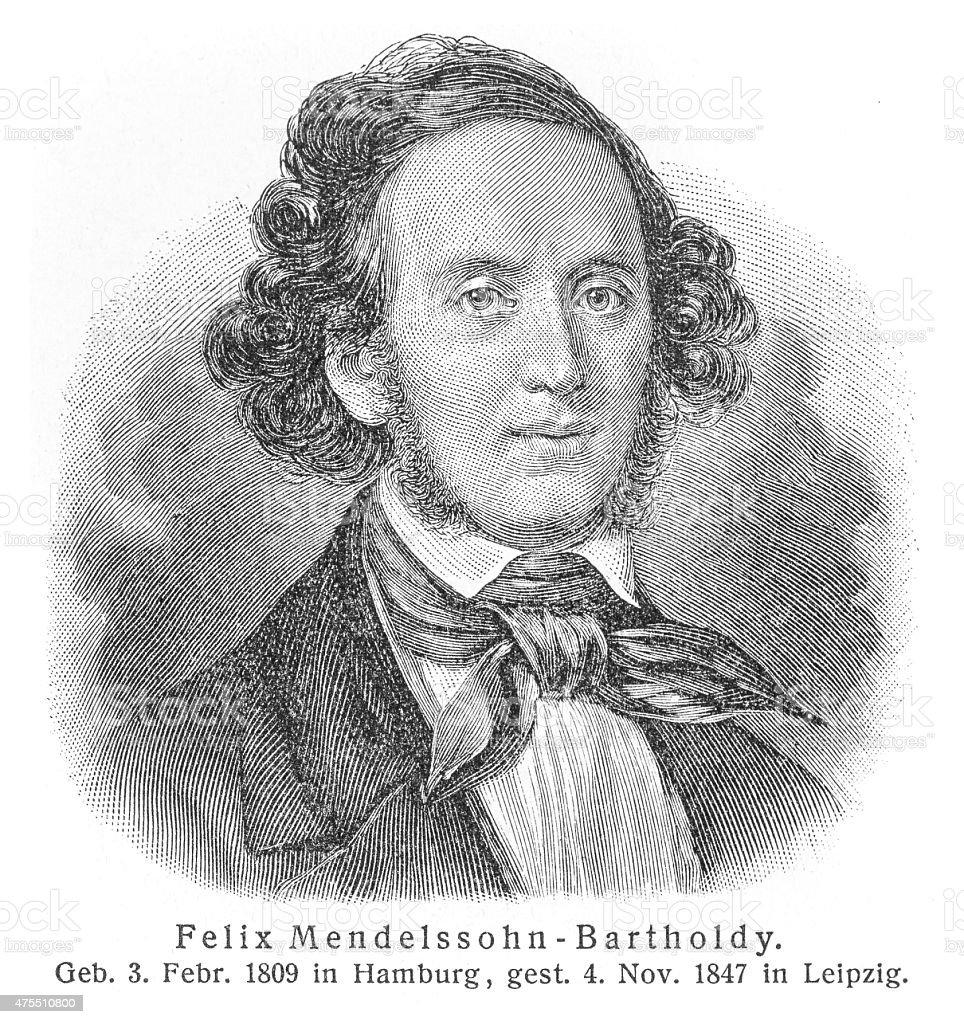 Felix Mendelssohn engraving stock photo