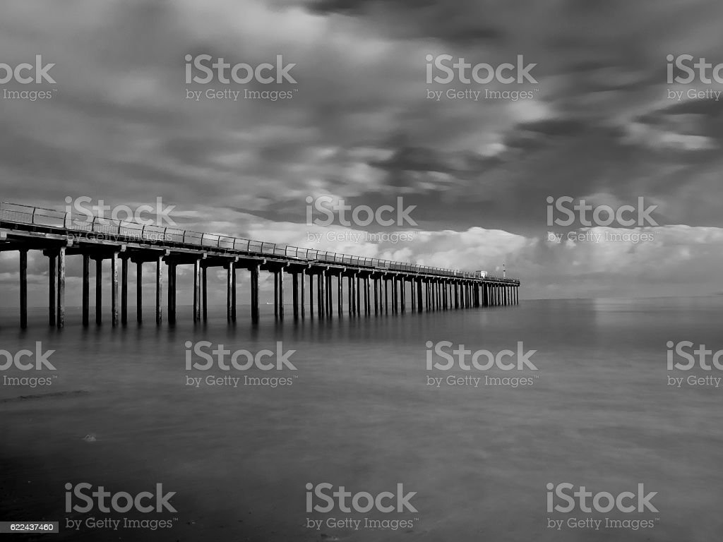 Felixstowe, Suffolk Pier in black and white stock photo