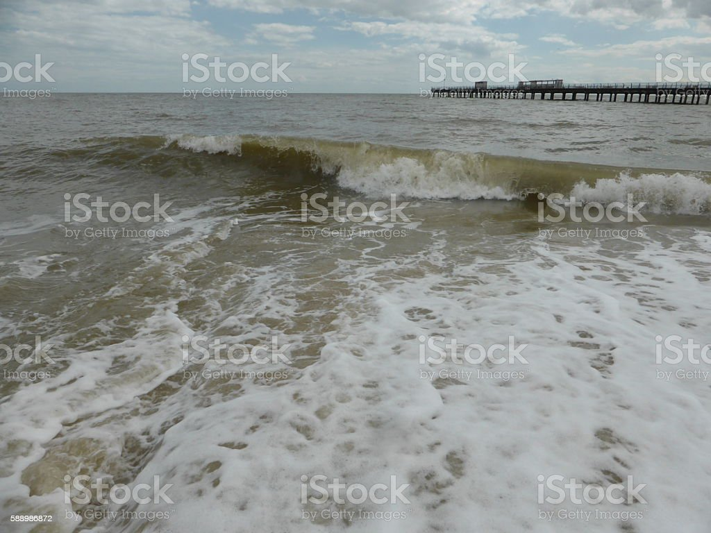 Felixstowe - The North Sea stock photo