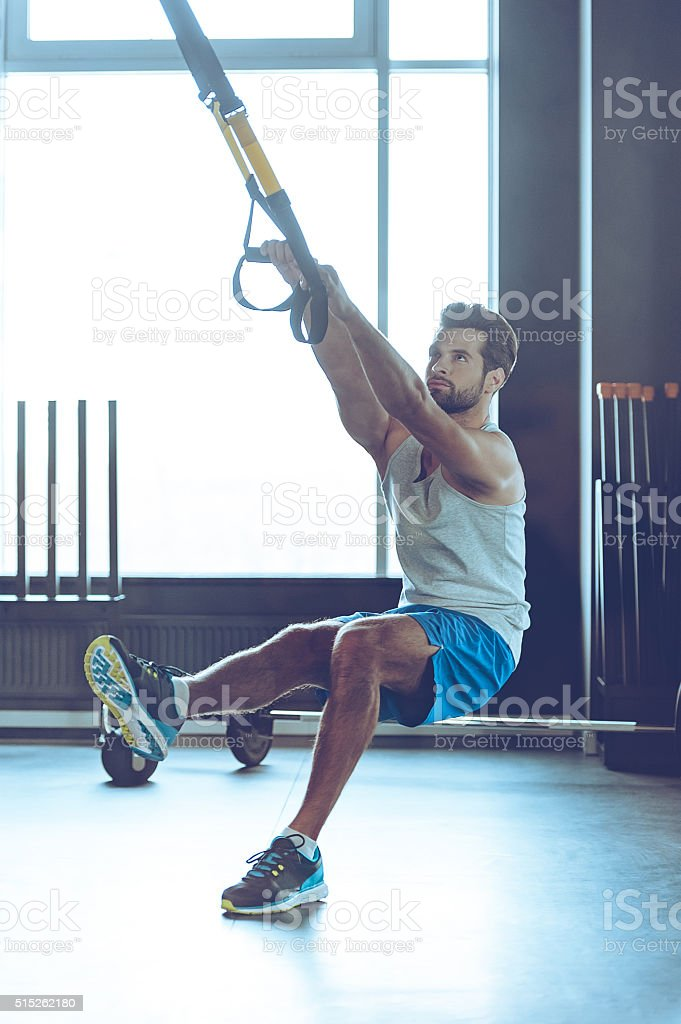 Fell your balance and strength. stock photo