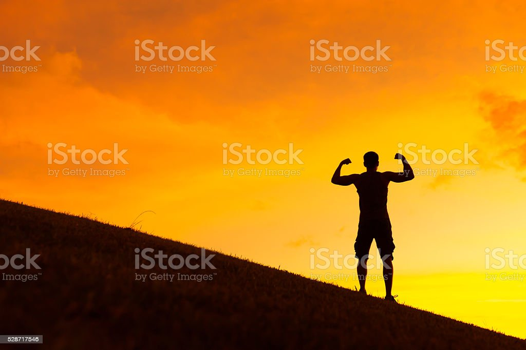 Felling strong and confident. stock photo