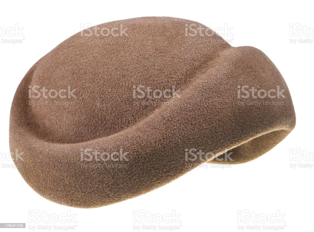 felt brown bonnet stock photo
