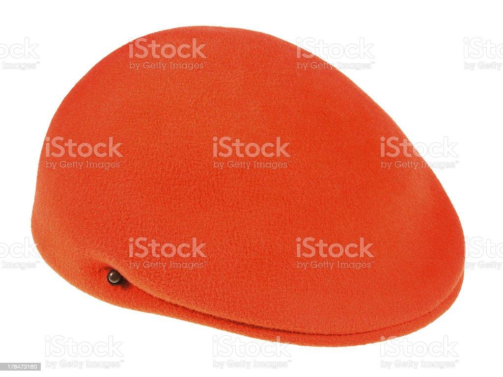 felt orange flat cap stock photo