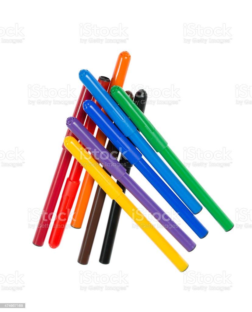 Felt pens isolated on white stock photo