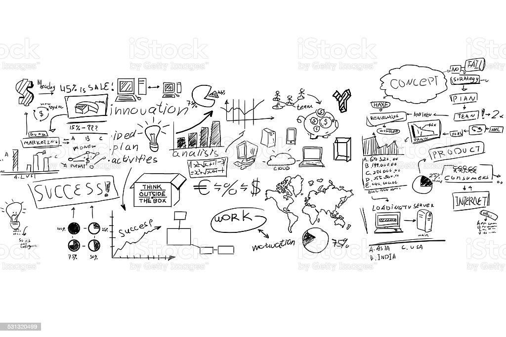 Felt Tip Pen Drawings of Business Concept on Whiteboard stock photo