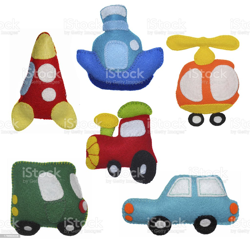 Felt toys vehicles royalty-free stock photo