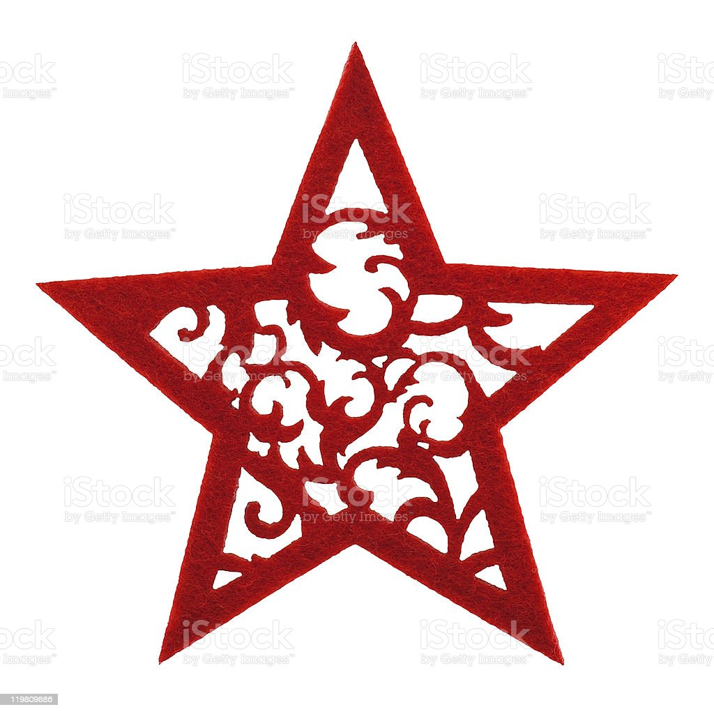 Felted red star with floral ornament, isolated on white royalty-free stock photo