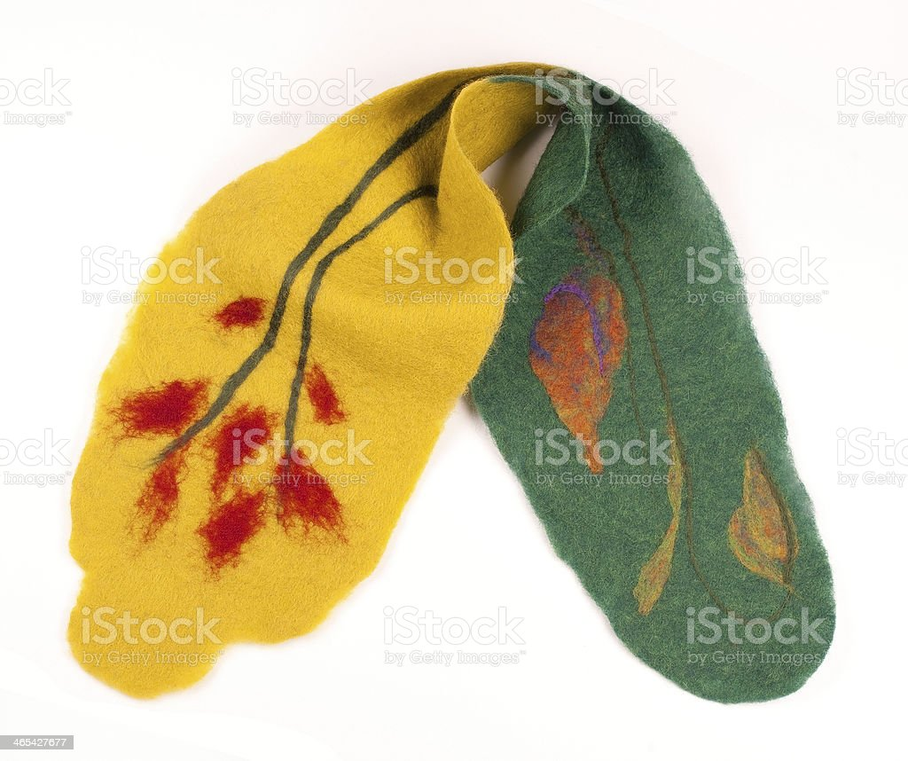 Felted Scarf with Floral Pattern royalty-free stock photo
