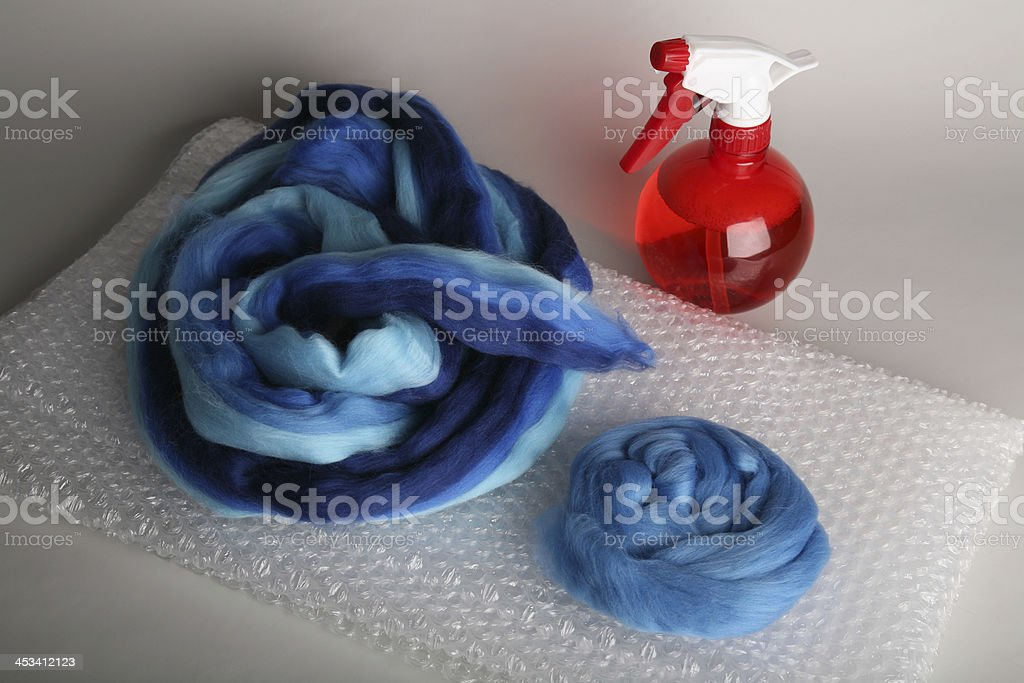 Felting set in blue and red stock photo