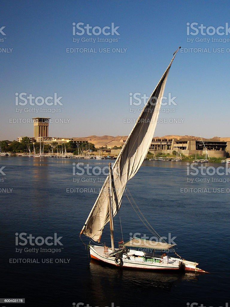 Feluca Boat on the Nile. stock photo