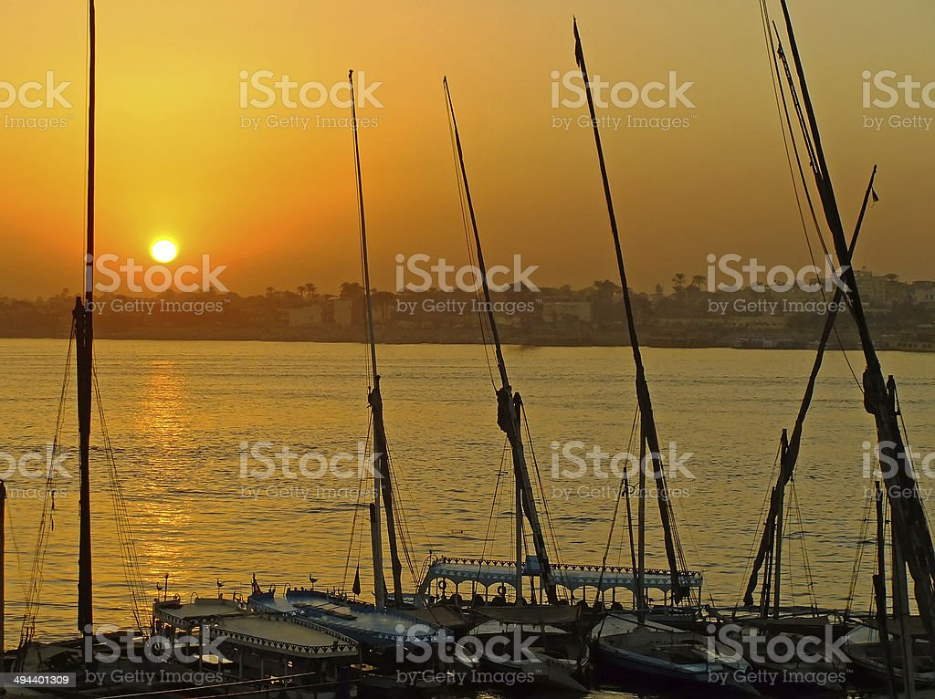Felucca boats at the harbor, Luxor royalty-free stock photo