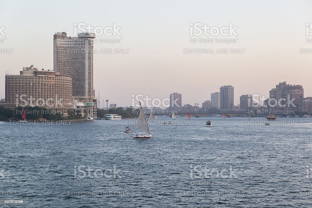 Felucca boats on the Nile stock photo