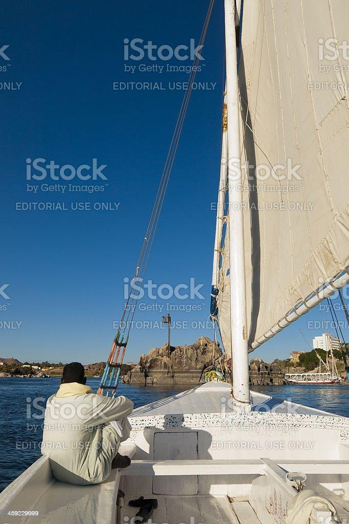 Felucca on the Nile at Aswan, Egypt stock photo
