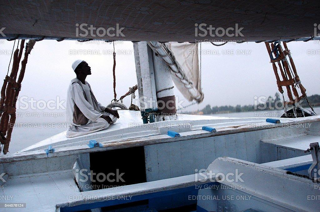 Felucca Sailboat on the Nile River, Egypt stock photo