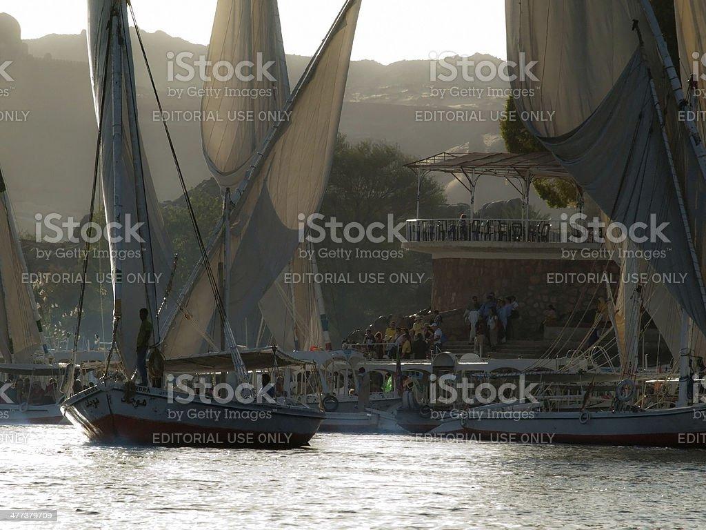 Feluccas in River Nile stock photo