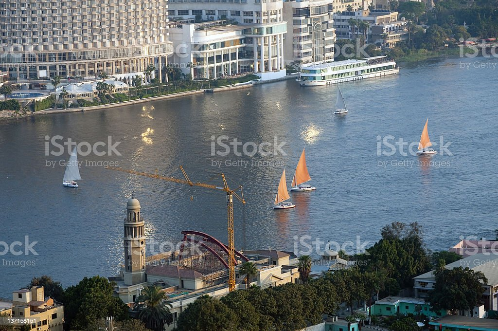 Feluccas sailing on Nile River in Cairo, Egypt royalty-free stock photo