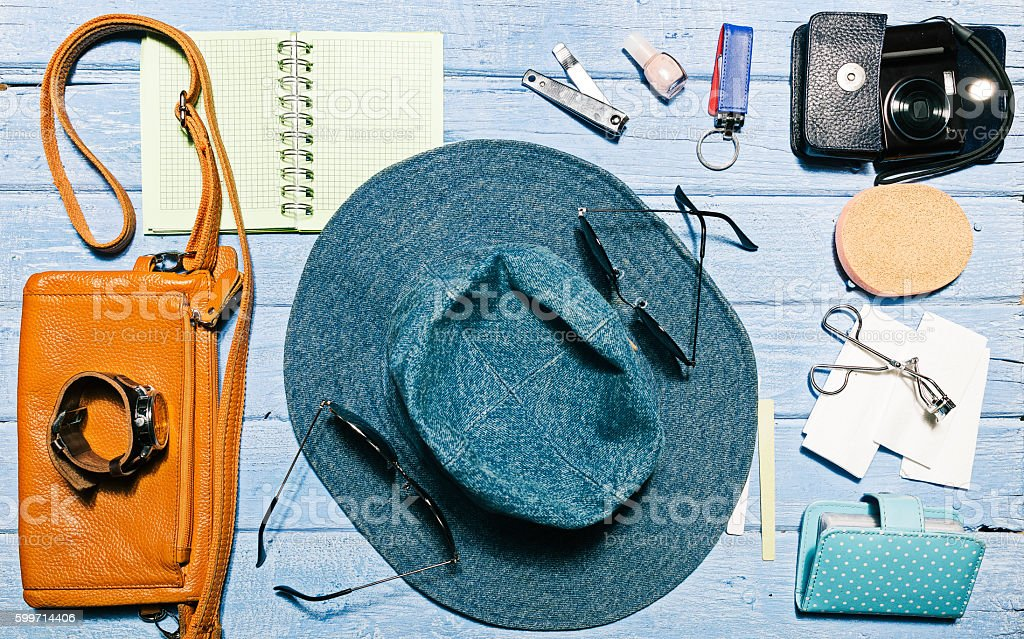 Female accessories top view stock photo