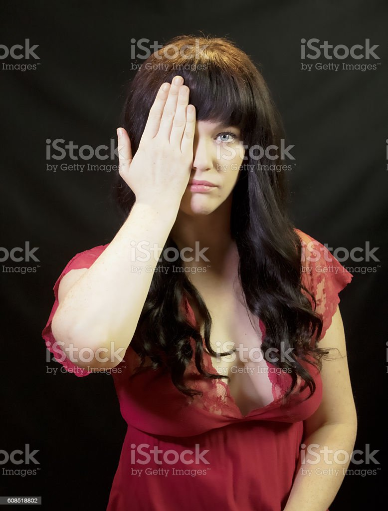 Female Adult Taking A Vision Test stock photo