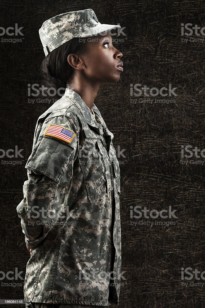 Female African American Soldier Series: Against Dark Brown Background royalty-free stock photo