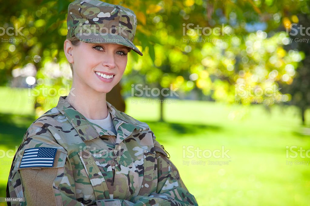 Female African American Soldier Series: Outdoor Portrait royalty-free stock photo