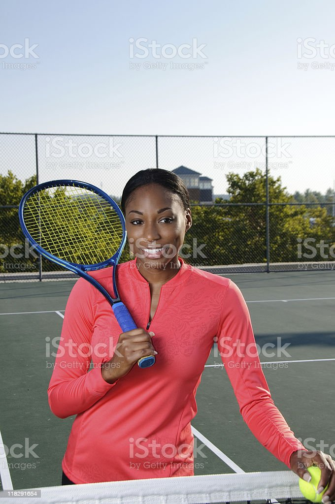 Female African American tennis player royalty-free stock photo