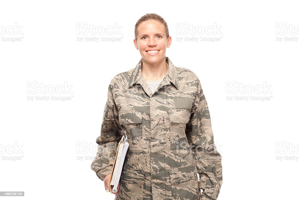 Female airman with books stock photo
