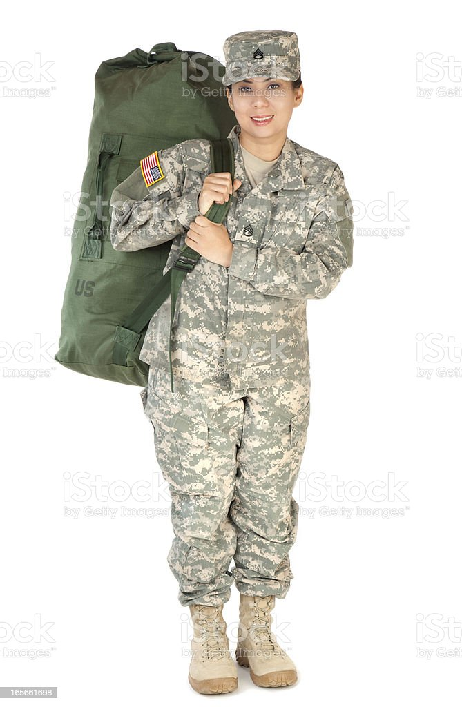Female American Soldier in Army Camouflage Uniform royalty-free stock photo
