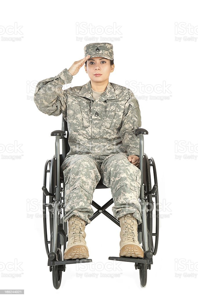 Female American Soldier in Wheelchair royalty-free stock photo