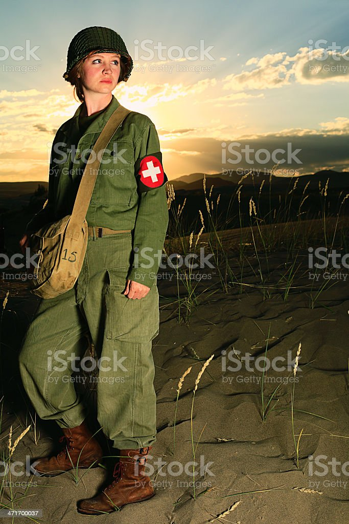 WW2 Female American Soldier royalty-free stock photo