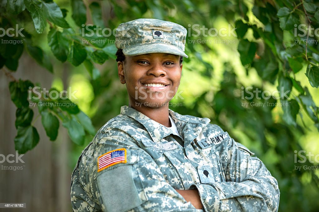 Female American Soldier stock photo