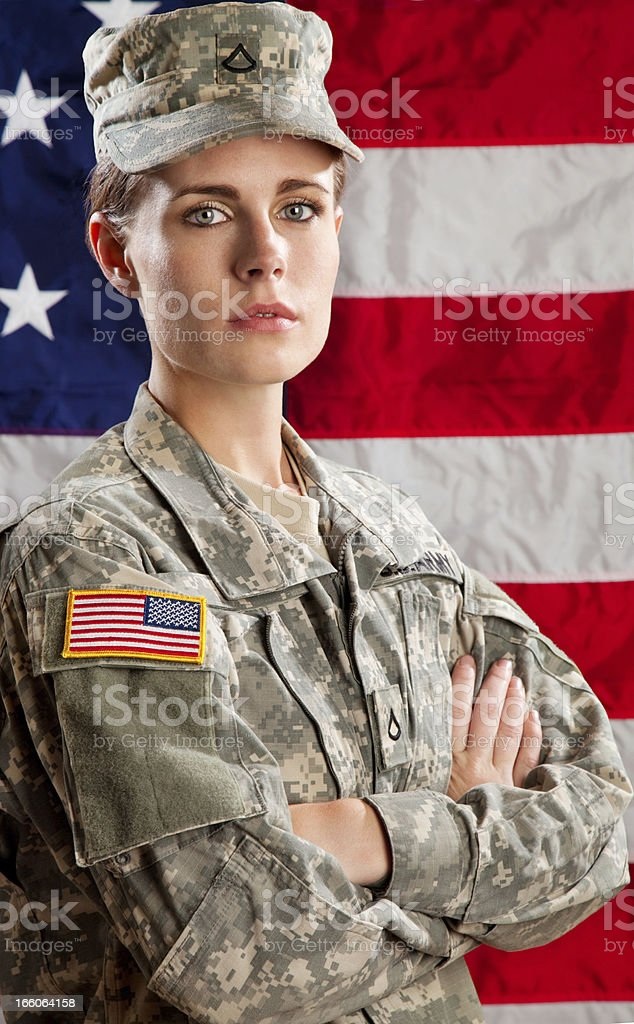 Female American Soldier Series: Against USA Flag stock photo