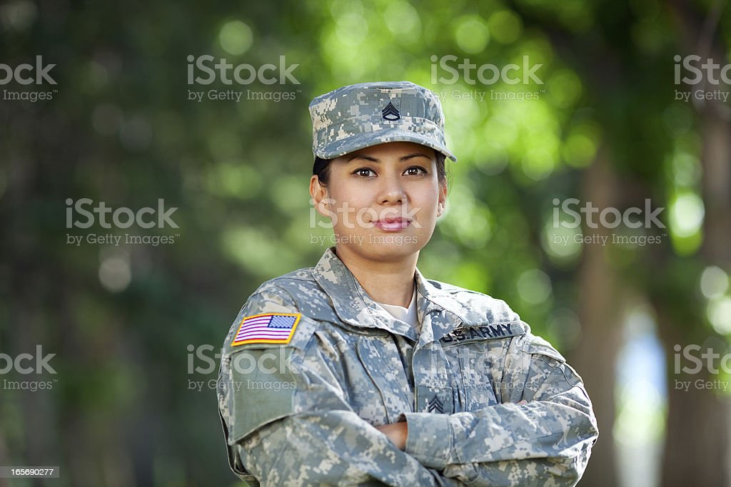 Female American Soldier Series: Outdoor Portrait stock photo