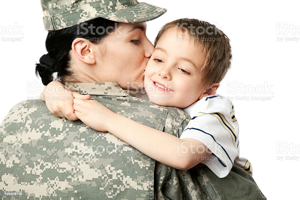 Female American Soldier with Son royalty-free stock photo