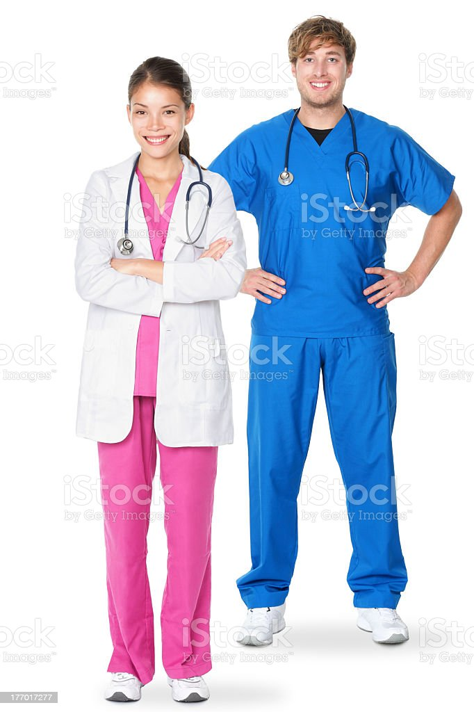 A female and a male medical doctor posing stock photo