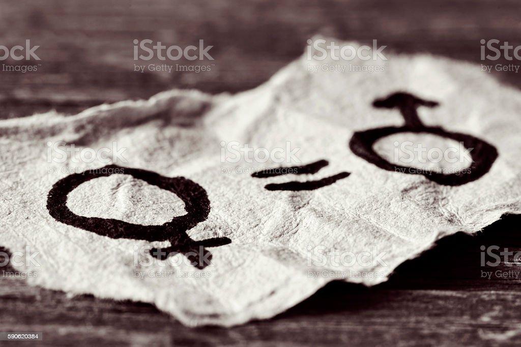 female and male symbols depicting women equality stock photo