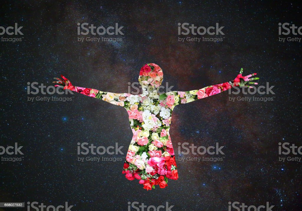 Female and Roses flower in double exposure on universe background stock photo