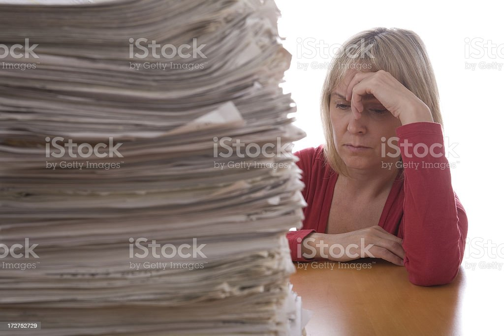 Female and stack of papers royalty-free stock photo