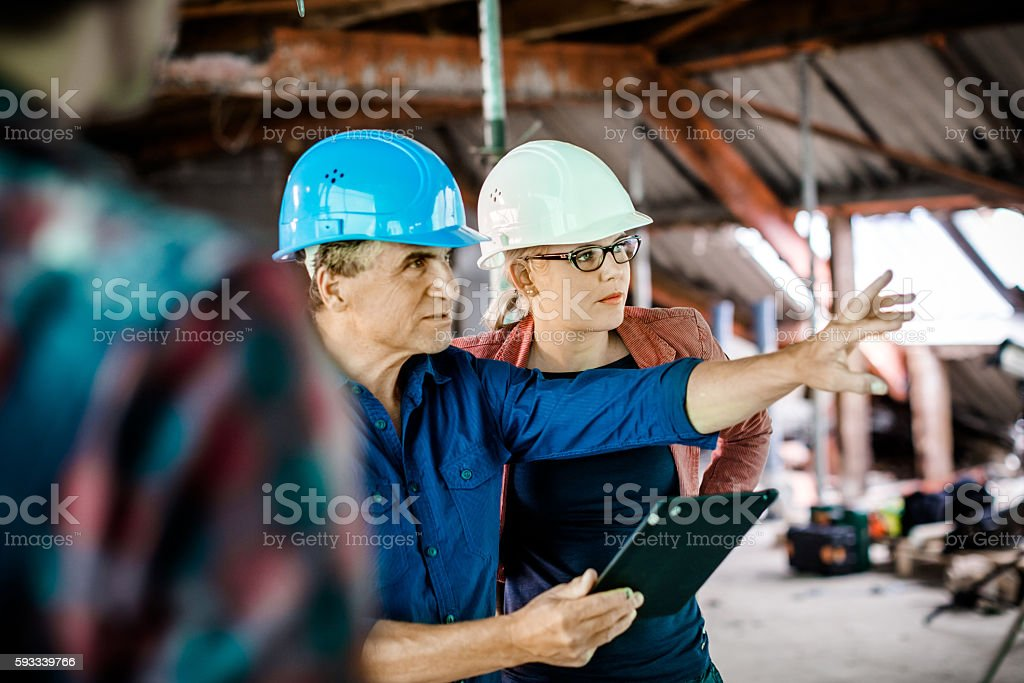 Female Architect And Construction Worker Discussing On Site stock photo