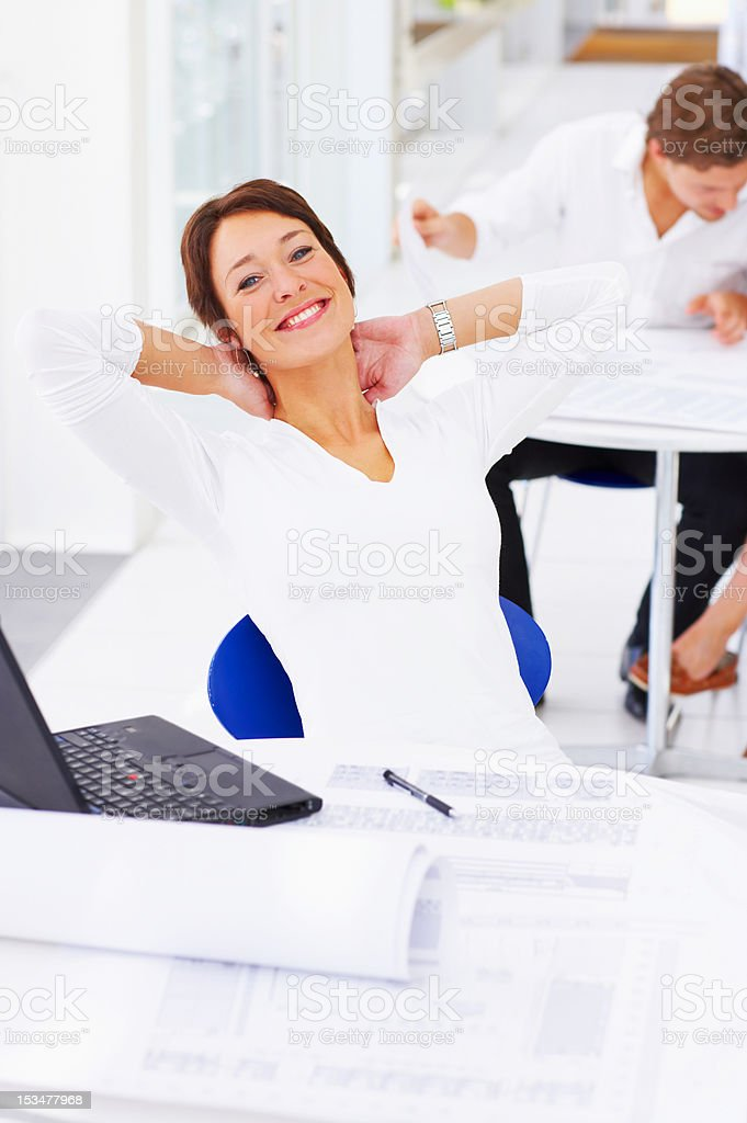 Female architect at her desk royalty-free stock photo