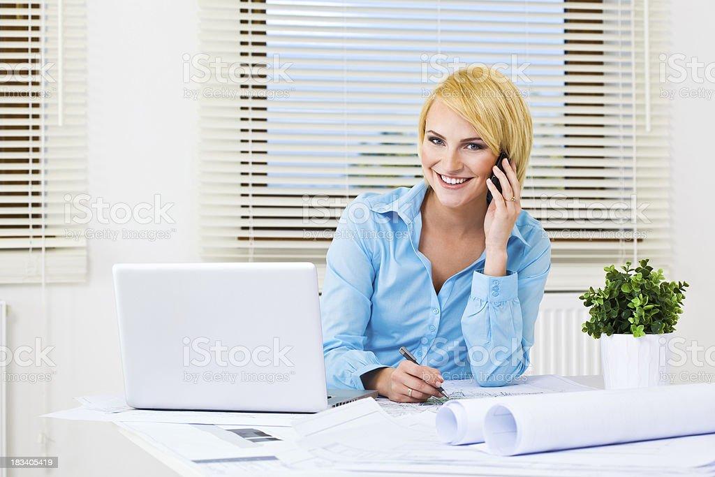 Female architect at work royalty-free stock photo