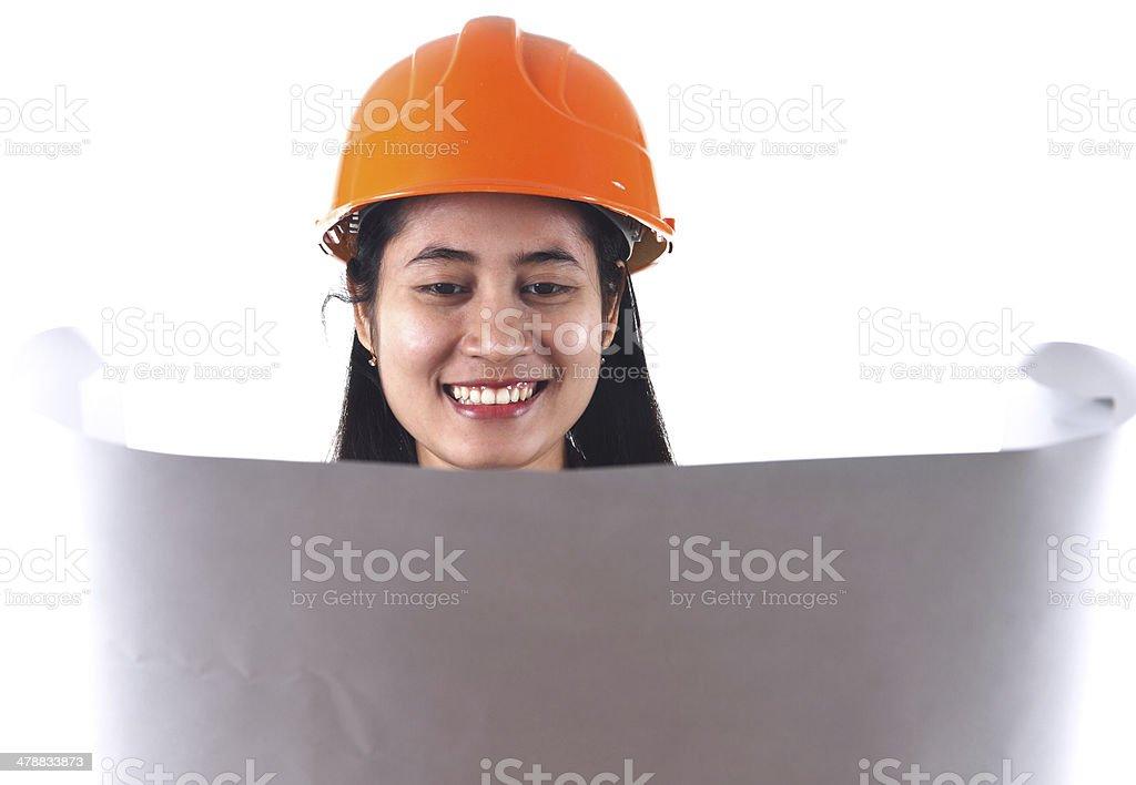 Weibliche Architekt, die eine Zeichnung Lizenzfreies stock-foto