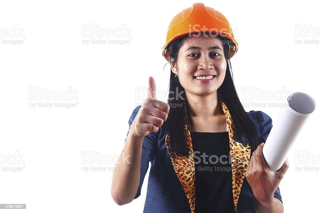 Weibliche Architekt, isoliert auf weißem Hintergrund Lizenzfreies stock-foto