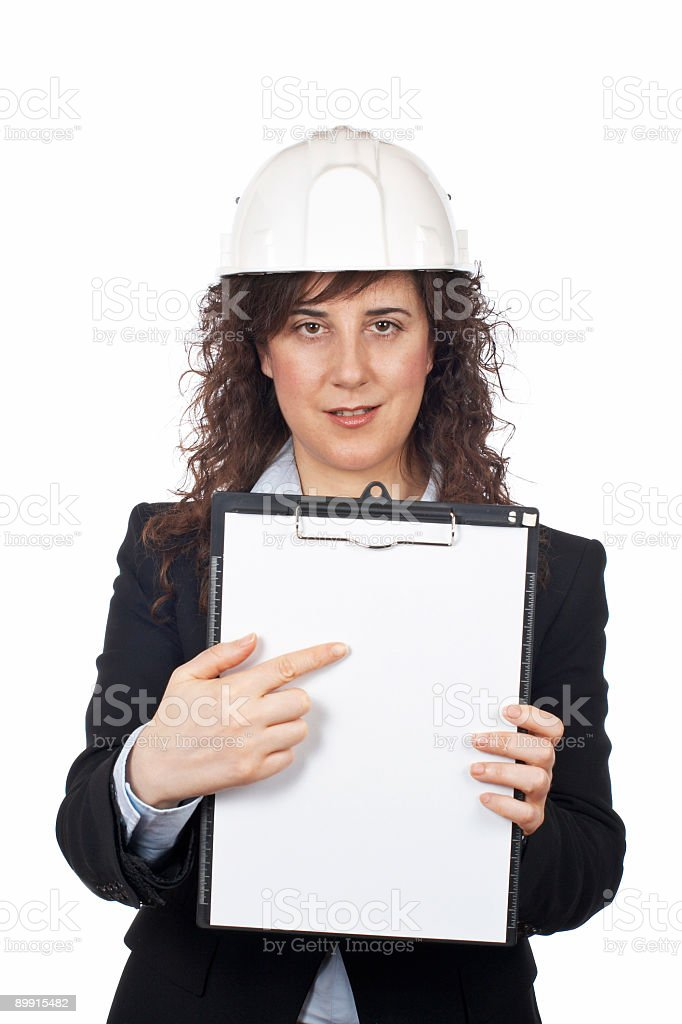 Female architect showing a notebook royalty-free stock photo