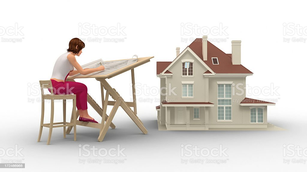 Female Architect Working On Blueprints With House Construction royalty-free stock photo